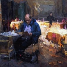"American Legacy Fine Arts presents ""Bistro de Provence"" a painting by Jove Wang."