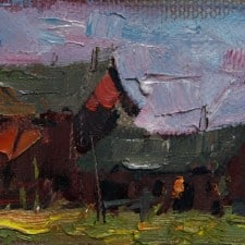 "American Legacy Fine Arts presents ""La Ferme Outside Barbizon, France"" a painting by Jove Wang."
