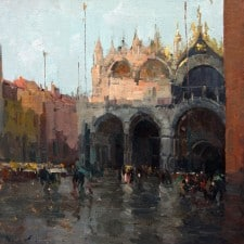 "American Legacy Fine Arts presents ""Rainy Day at Piazza San Marco"" a painting by Jove Wang."