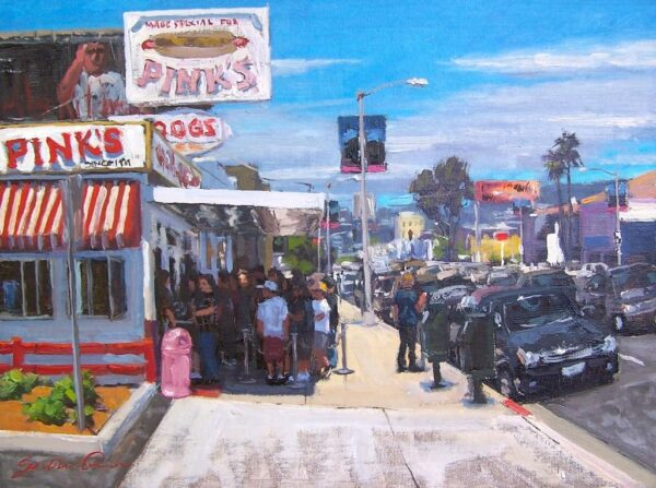"""American Legacy Fine Arts presents """"Lunch at Pink's"""" a painting by Scott W. Prior."""