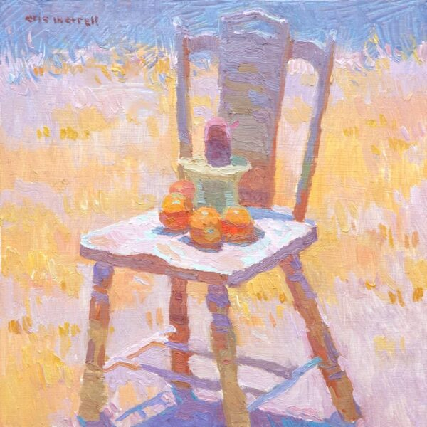 "American Legacy Fine Arts presents ""Potted Cactus and Oranges ona Chair"" a painting by Eric Merrell."