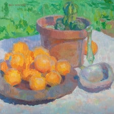 "American Legacy Fine Arts presents ""Still Life with Oranges and Abalone Shell"" a painting by Eric Merrell."
