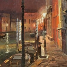 "American Legacy Fine Arts presents ""Venice at Night"" a painting by Mian Situ."