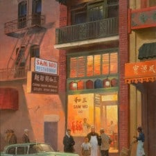 "American Legacy Fine Arts presents ""Sam Wo Restaurant, San Francisco, 1960"" a painting by Mian Situ."