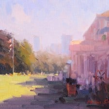 "American Legacy Fine Arts presents ""Corner of CLubhouse"" a painting by Michael Situ."