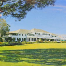 "American Legacy Fine Arts presents ""LACC 9; Clubhouse from the 18th"" a painting by Alexander V. Orlov."