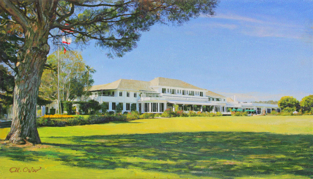 American Legacy Fine Arts Presents LACC 9 Clubhouse From The 18th A Painting