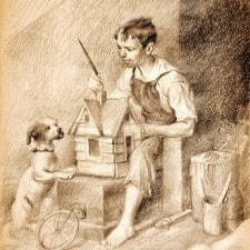 "American Legacy Fine Arts presents Painting the Little House, 1921"" a drawing by Norman Rockwell."