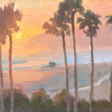 "American Legacy Fine Arts presents ""California Sunset"" a painting by Michael Obermeyer."