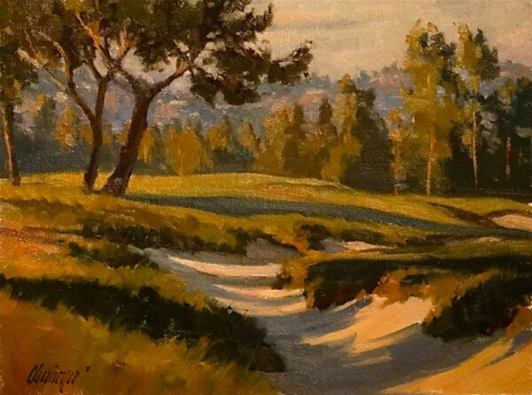 "American Legacy Fine Arts presents ""Shadows in the Sand"" a painting by Michael Obermeyer."