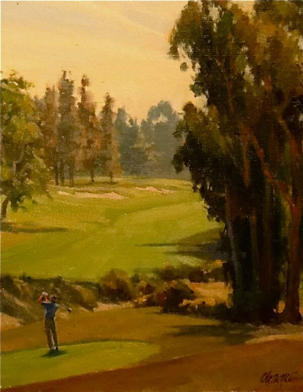 "American Legacy Fine Arts presents ""Teeing Off"" a painting by Michael Obermeyer."