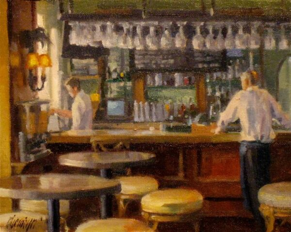 "American Legacy Fine Arts presents ""The Watering Hole"" a painting by Michael Obermeyer."