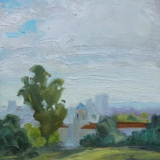 "American Legacy Fine Arts presents ""Los Angeles Schoolhouse View"" a painting by Tony Peters."