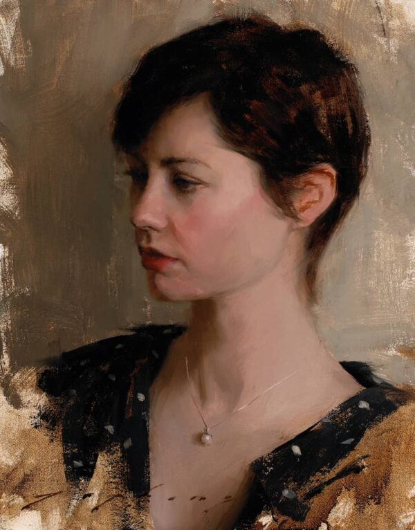 "American Legacy Fine Arts presents ""Portrait of Mrs. Sheryl Guerrero"" a painting by Jeremy Lipking."