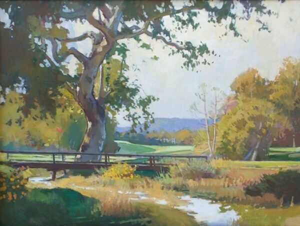 "American Legacy Fine Arts Presents ""Sycamore Near Number 2 Hole"" a painting by Ray Roberts."