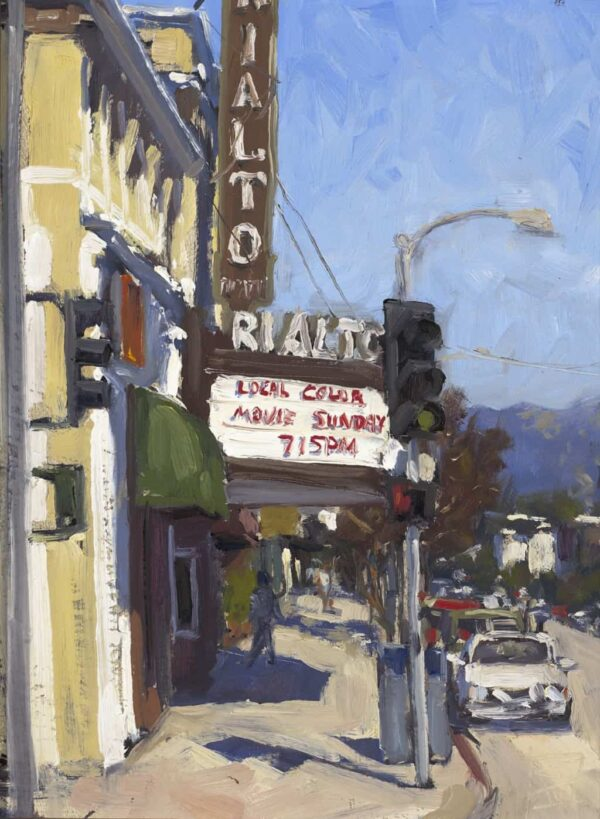 """American Legacy Fine Arts presents """"Movie Sunday; South Pasadena"""" a painting by Scott W. Prior."""