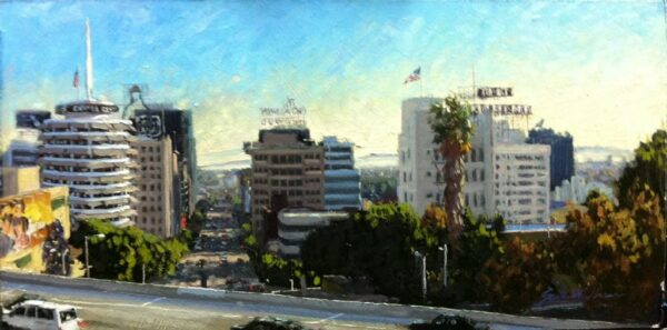 "American Legacy Fine Arts presents ""The 101 and Vine; Hollywood"" a painting by Scott W. Prior."
