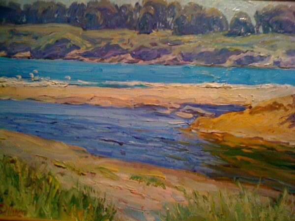 "American Legacy Fine Arts presents ""Turquoise Water; Cambria"" a painting by Tim Solliday."