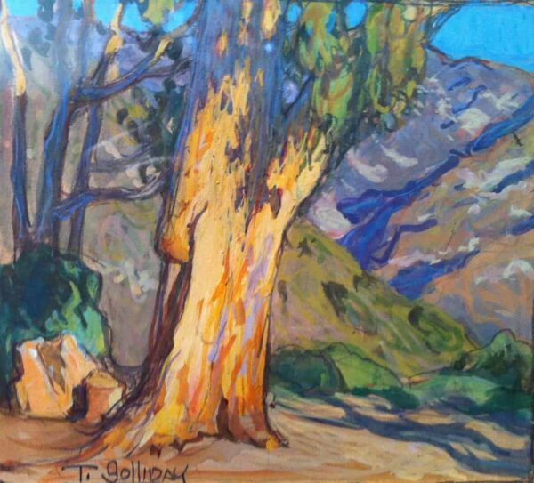 """American Legacy Fine Arts presents """"Eucalyptus Mountains; Altadena"""" a painting by Tim Solliday."""