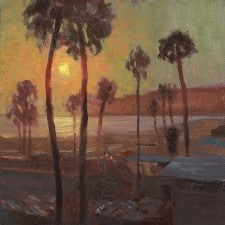 "American Legacy Fine Arts Presents ""Sunset over Santa Monica"" a painting by Tony Pro."