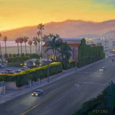 "American Legacy Fine Arts presents ""Santa Monica Beach Nocturne"" a painting by Tony Peters."