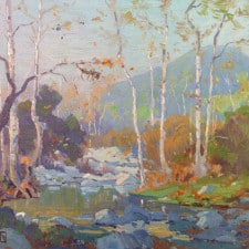 "American Legacy Fine Arts presents ""Meandering Stream, c. 1915"" a painting by Elmer Wachtel (1864-1929)."