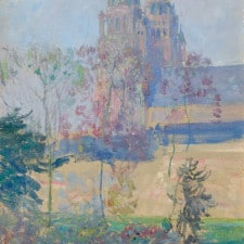 "American Legacy Fine Arts presents ""Study for Cathedral at Tours, circa 1916"" a painting by Guy Rose (1867-1925)."