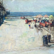 "American Legacy Fine Arts presents ""Untitled (Newport Pier at McFadden Place), c. 1963"" a painting by Roger E. Kuntz (1926-1975)."