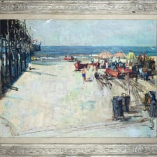 """American Legacy Fine Arts presents """"Untitled (Newport Pier at McFadden Place), c. 1963"""" a painting by Roger E. Kuntz (1926-1975)."""