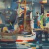 "American Legacy Fine Arts presents ""Untitled; Boats with Flags"" a painting by Robert E. Wood (1926-1999)."