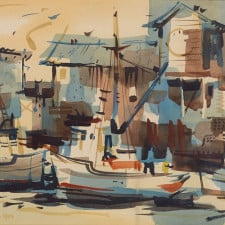 "American Legacy Fine Arts presents ""Untitled; Harbor Scene"" a painting by Robert E. Wood (1926-1999)."