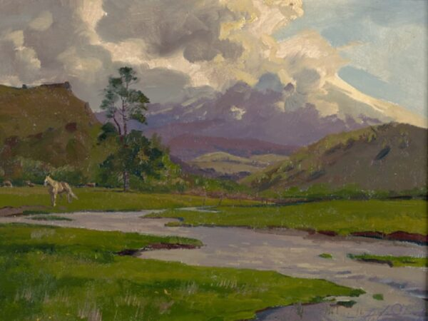 """American Legacy Fine Arts presents """"Clouds and the Stream"""" a painting by Alexey Steele."""
