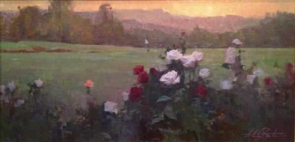 "American Legacy Fine Arts presents ""Sunrise Roses"" a painting by Alexey Steele."