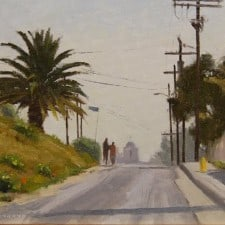 "American Legacy Fine Arts presents ""A Walk to Church; Echo Park"" a painting by Frank Serrano."