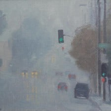 "American Legacy Fine Arts presents ""Another Rainy Day near the L.A. River"" a painting by Frank Serrano."
