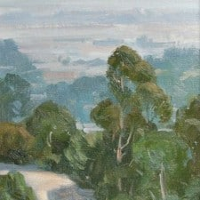 "American Legacy Fine Arts presents ""Eucalyptus Over L.A."" a painting by Frank Serrano."