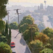 "American Legacy Fine Arts presents ""Hazy Hills near Lincoln Park"" a painting by Frank Serrano."