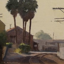 "American Legacy Fine Arts presents ""Industry Palms; Downtown Los Angeles"" a painting by Frank Serrano."