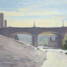 "American Legacy Fine Arts presents ""It was Hot; Hyperion Bridge, L. A. River"" a painting by Frank Serrano."