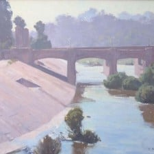 "American Legacy Fine Arts presents ""L.A. River; Hyperion Bridge"" a painting by Frank Serrano."