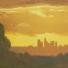 "American Legacy Fine Arts presents ""Stormy Sunset over L.A."" a painting by Frank Serrano."