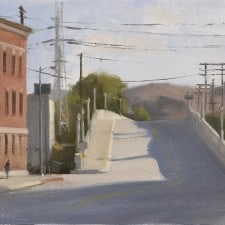 "American Legacy Fine Arts presents ""Downtown L.A. Bridge at Broadway"" a painting by Frank Serrano."