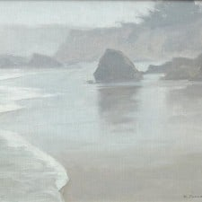 "American Legacy Fine Arts presents ""Foggy Coast; Cambria"" a painting by Frank Serrano."