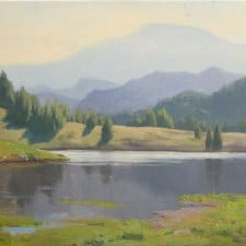 "American Legacy Fine Arts presents ""Lake Shastina"" a painting by Frank Serrano."