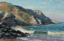 "American Legacy Fine Arts presents ""Crisp Day, Shark Harbor"" a painting by Joseph Paquet."