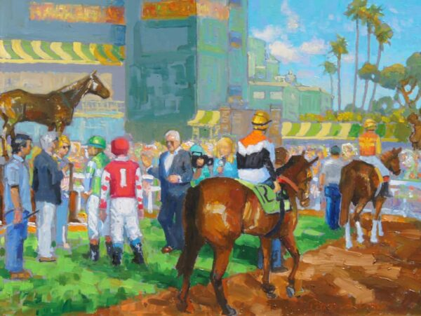 "American Legacy Fine Arts presents ""15 Minutes Before the Race"" a painting by Peter Adams."