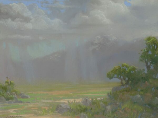 "American Legacy Fine Arts presents ""Distant Showers at the Bar E Ranch; North Side of Mt. Shasta"" a painting by Peter Adams."