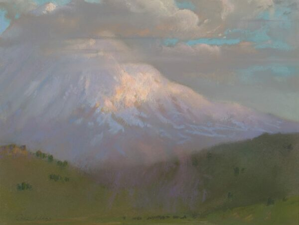 "American Legacy Fine Arts presents ""Evening Breeze; Mt. Shasta"" a painting by Peter Adams."