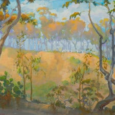 """American Legacy Fine Arts presents, """"Eucalyptus View on Old Stage Road"""" a painting by Peter Adams."""
