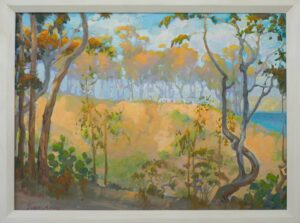 "American Legacy Fine Arts presents, ""Eucalyptus View on Old Stage Road"" a painting by Peter Adams."